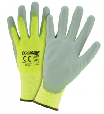 West Chester Yellow Hi-Viz PU Palm Coated Polyester Touch Screen Gloves