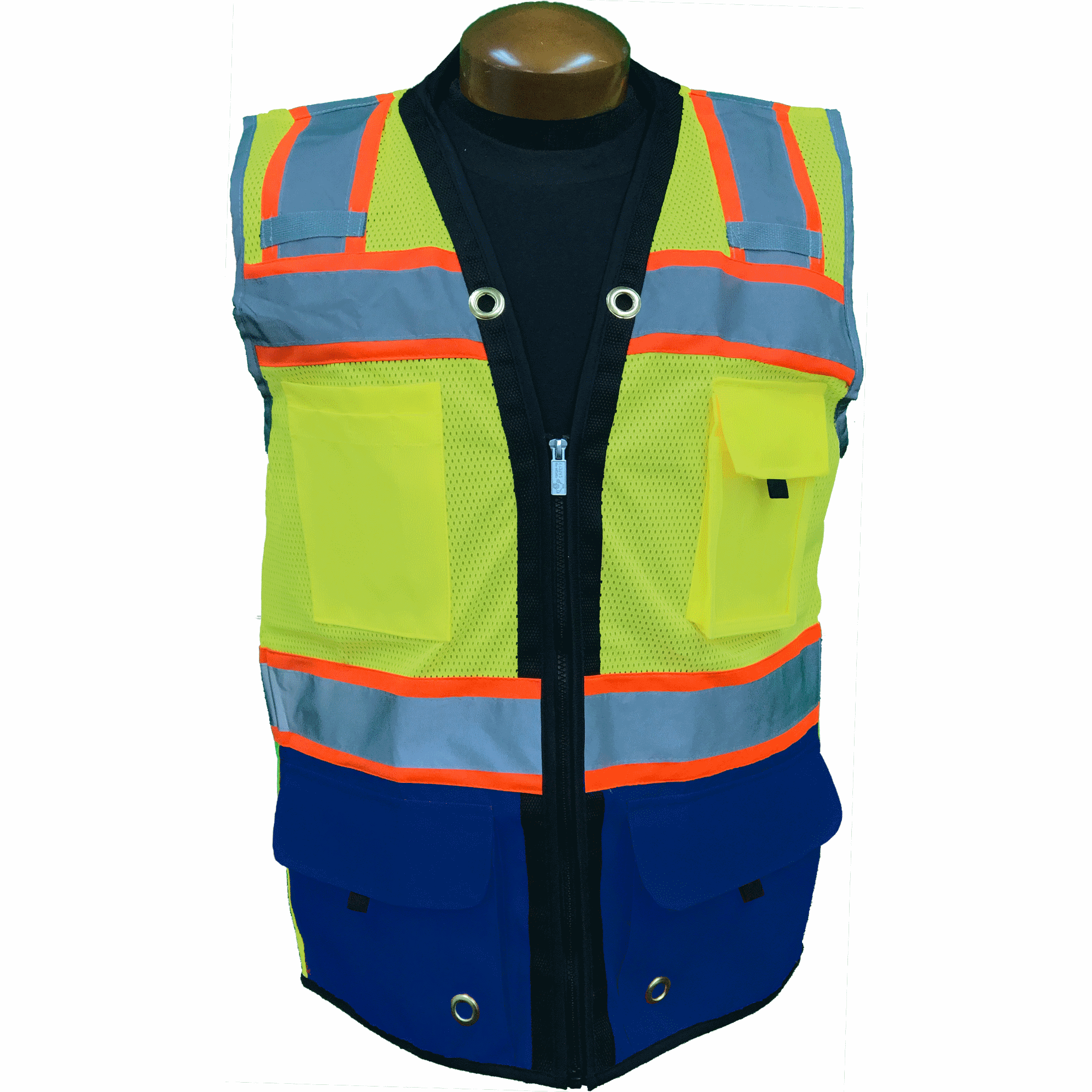Premium Two Tone Surveyor Vest  - Red - Navy Blue