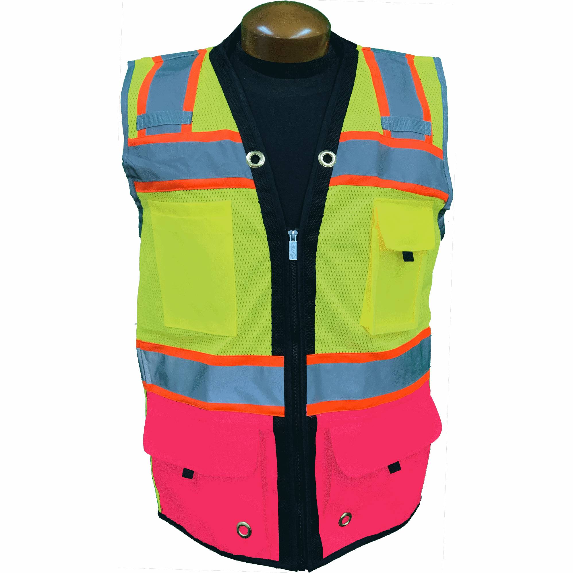 Premium Two Tone Surveyor Vest - Royal Blue - Pink