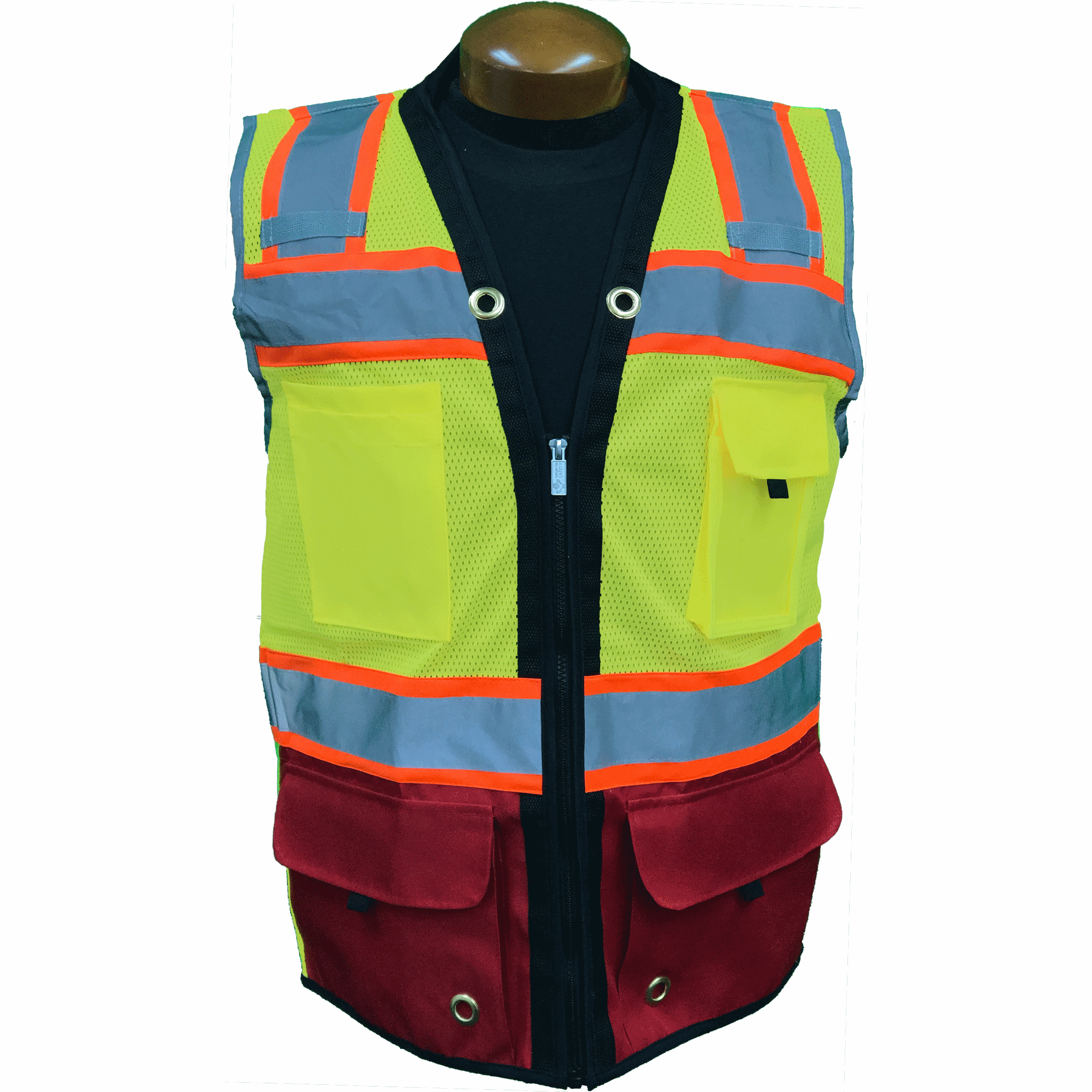 Premium Two Tone Surveyor Vest  - Red