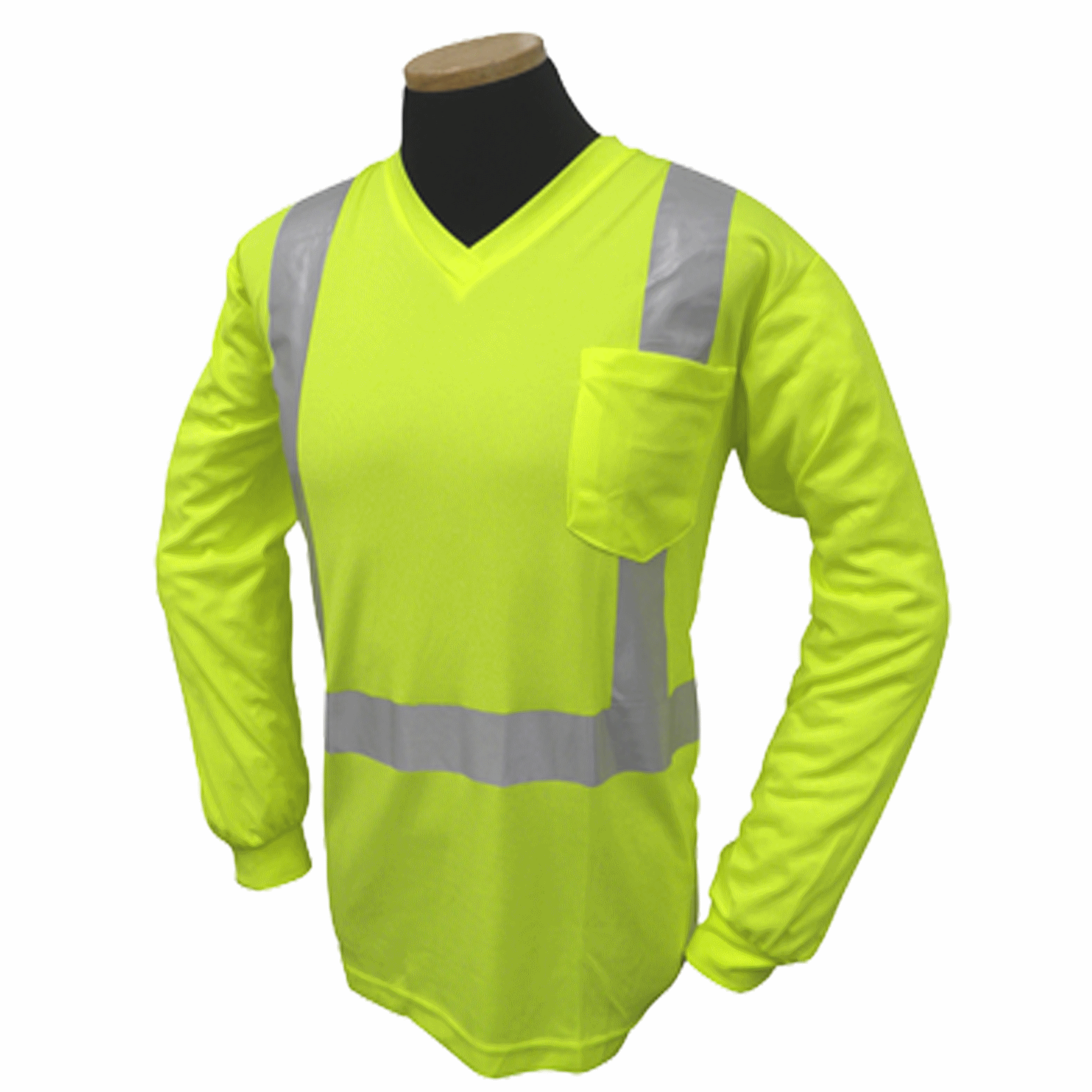 Long Sleeve Lime Class 2/ Birdseye V Neck