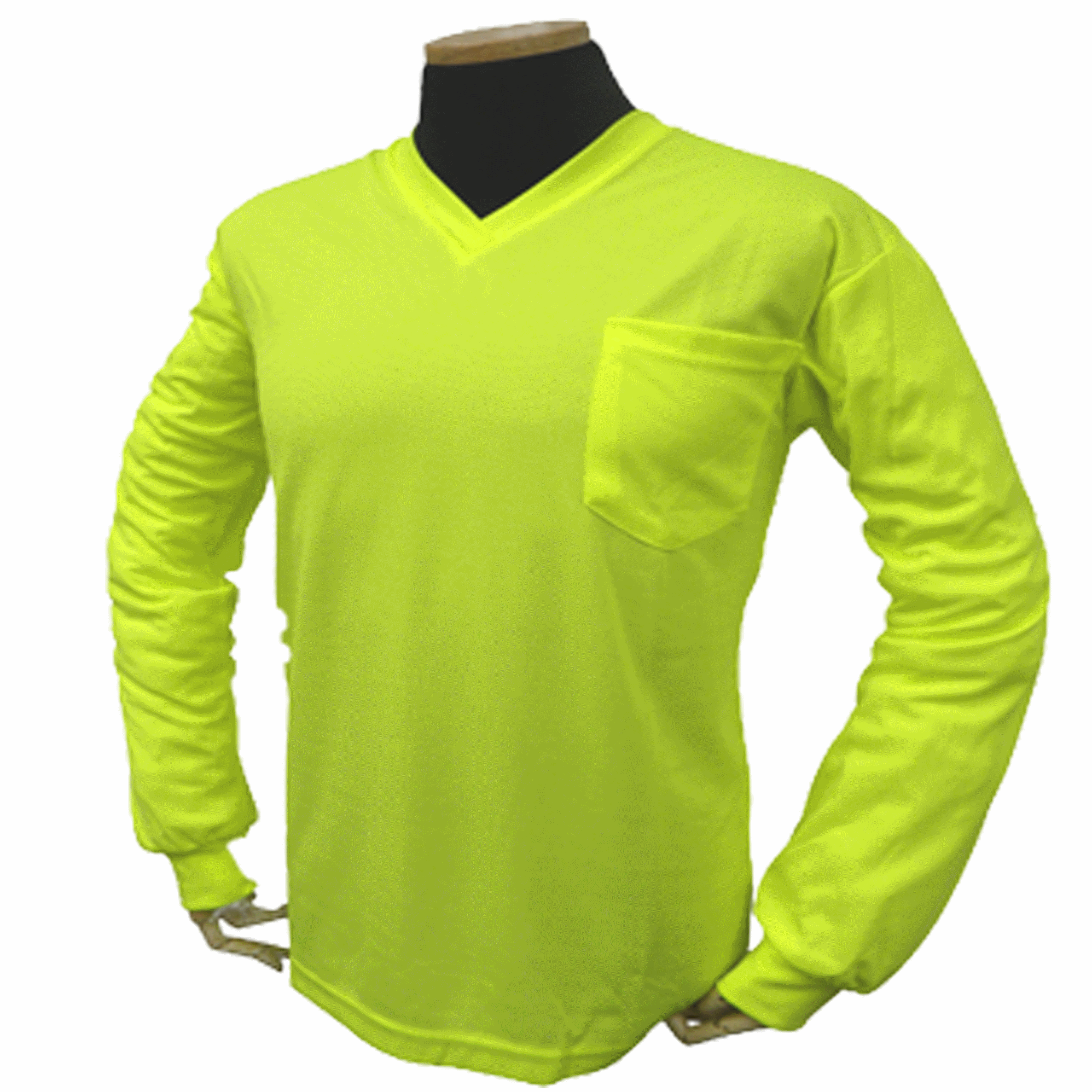 Long Sleeve Lime without Reflective Stripe Birdseye V Neck