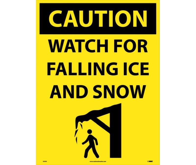 CAUTION WATCH FOT ICE AND SNOW SIGN SIGN