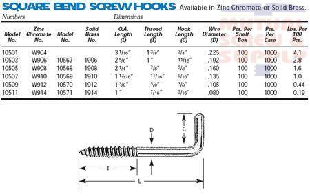 square bend brass screw hooks available at mutual screw fasteners supply. Black Bedroom Furniture Sets. Home Design Ideas
