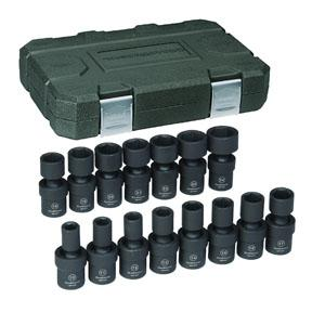 "GearWrench 1/2"" Drive 15pc. 6 Point Metric Universal Impact Socket Set"
