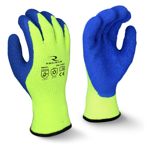 Radians Blue & Yellow A3 Cut Protection Latex Coated Cold Weather Gloves