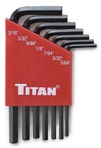 Titan 7pc. SAE Short Arm Hex Key Set