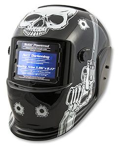 Titan Solar Powered Auto Dark Welding Helmet- Skull and Pistol