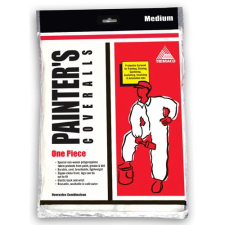 MEDIUM SUPERTUFF™ POLYPROPYLENE PAINTER'S COVERALLS WITH ELASTIC BACK AND WRISTS