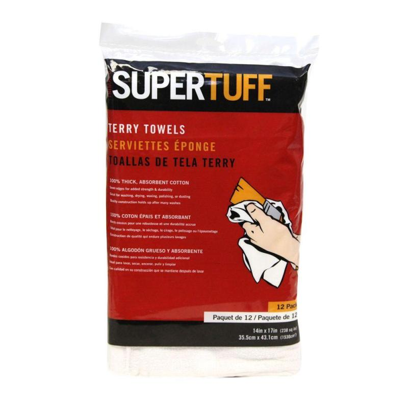 "14"" X 17"" SUPERTUFF™ 12 PACK ABSORBENT TERRY CLOTH TOWELS"