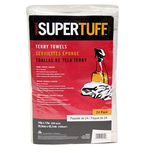 "14"" X 17"" SUPERTUFF™ 24 PACK ABSORBENT TERRY CLOTH TOWELS"