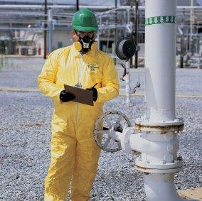 LARGE YELLOW DUPONT™ TYCHEM® QC PE-COATED COVERALLS NO ELASTIC