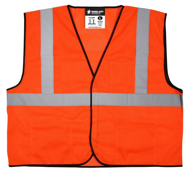 d39491bc3b16 MCR Safety Economy Class 2 ANSI Orange Mesh Hook   Loop Safety Vest