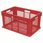 "Akro-Mills Straight Wall Container, Mesh Side & Base, 23 3/4""L x 12 1/4""H x 15 3/4""W, Red"