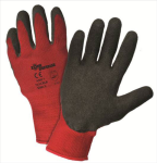 West Chester 701CRLB Zone Defense™ Red Poly/Cotton Shell with Black Latex Crinkle Finish Gloves
