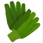 West Chester 710KGRPD 10 oz. High Vis Green Plastic Dot Canvas Glove