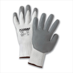 West Chester 715SNFLW Gray Lunar Foam Nitrile Palm Dip on White Nylon Shell