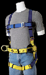 Gemtor 955 Sub-pelvic, polyester full-body harness with foam back pad, and removable, heavy-duty tongue buckle waist belt