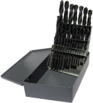 "1/16""-1/2""x64ths 29pc HSS Left Hand Jobber Length Drill Bit Set Qualtech"