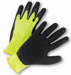West Chester Hi-Viz Black Crinkle Latex Coated Palm Green String Knit Gloves