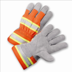 West Chester HVO500 High-Visibility Split Cowhide Leather Palm Gloves