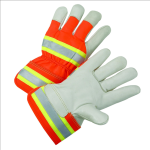West Chester HVO5000 High-Visibility Grain Cowhide Leather Palm Gloves
