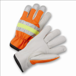 West Chester HVO990K High-Visibility Grain Cowhide Leather Driver Gloves