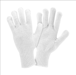 West Chester K708SKW Bleach White String Knit Gloves with White PVC Dots