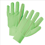 West Chester K81SCNCGRI Hi Vis Corded Double-Palm Poly/Cotton Gloves Green