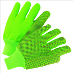 West Chester K81SCNCGRIPD Hi Vis PVC Dot Corded Double-Palm Green Glove