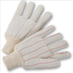 West Chester K81SCNCI Cotton Corded Double Palm White Knit Wrist Gloves