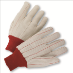 West Chester K81SCNCRI Cotton Corded Double Palm Gloves Red Knit Wrist