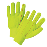 West Chester K81SCNCYWI Hi Vis Corded Double-Palm Poly/Cotton Gloves Yellow