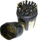 1/16 - 1/2 HSS Black & Gold Jobber Drill Bit Set, Shatter Proof Case, 29 Pieces (1/64 Increments)