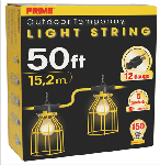 50ft. 12/3 STW Yellow 5-Light U-Ground Light String w/ Metal Cages