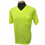 Short Sleeve Lime without Reflective Stripe Birdseye V Neck