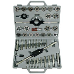"Qual Tech 40 Pc. Tap & Die Set, #4 to 1/2"" with Carbon Steel Round Dies"