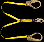 "Gemtor VP168-3 Shock Absorber Lanyard, 100% Tie-Off, with pack, Polyester, 2"" Hooks, 3 Ft"