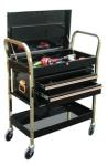 ATD 7034 2-Shelf Service Cart with Locking Lid and 2-Drawer Chest - Black