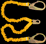 Gemtor D11ELYZ6 Stretch energy absorbing lanyards with #3100 flat rebar hooks on two ends 6 Ft