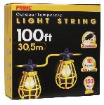 100ft. 12/3 STW Yellow 10-Light U-Ground Light String w/ Plastic Cages