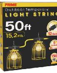 50ft. 12/3 SJTW Yellow 5-Light U-Ground Light String w/ Metal Cages