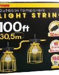 100ft. 12/3 SJTW Yellow 10-Light U-Ground Light String w/ Metal Cages