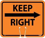 SAFETY CONE KEEP RIGHT SIGN