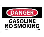 DANGER GASOLINE NO SMOKING LABEL