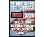 "THERE IS NO ""I"" IN TEAM DAYS OUR TEAM IS FREE FROM PRODUCTION ERRORS SCOREBOARD"