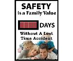 SAFETY IS A FAMILY VALUE  DAYS WITHOUT A LOST TIME ACCIDENT SCOREBOARD