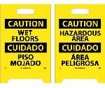 CAUTION WET FLOORS - BILINGUAL DOUBLE-SIDED FLOOR SIGN