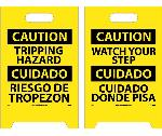 CAUTION TRIPPING HAZARD - BILINGUAL DOUBLE-SIDED FLOOR SIGN