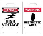 DANGER HIGH VOLTAGE DOUBLE-SIDED FLOOR SIGN